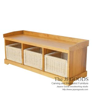 Teak Buffet Furniture with Rattan Basket