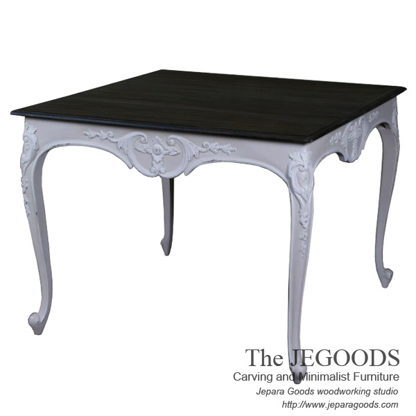 carving french dining table,mahogany antique jepara goods, french shabbychic furniture jepara
