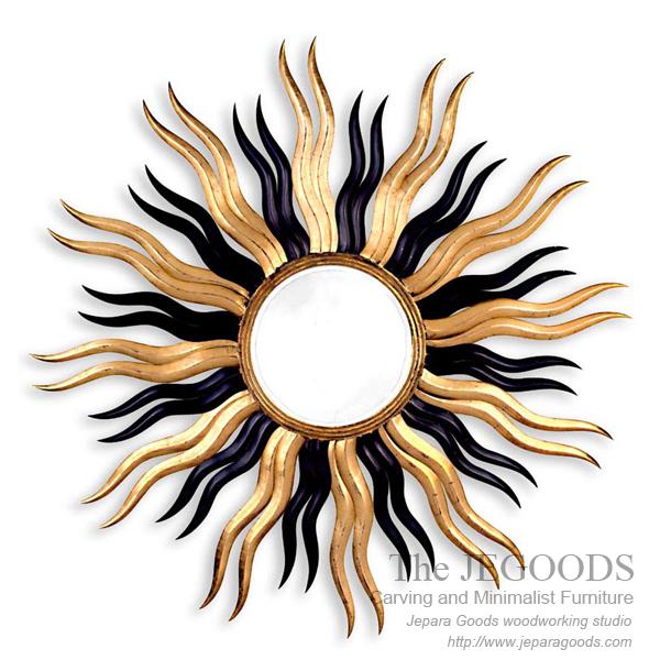 carving mirror sun,mirror matahari,cermin ukir matahari jepara,model ukir pigura jepara,mebel ukir pigura jepara,finishing antik gilt gold leaf finishing,accessories carving mirror frame