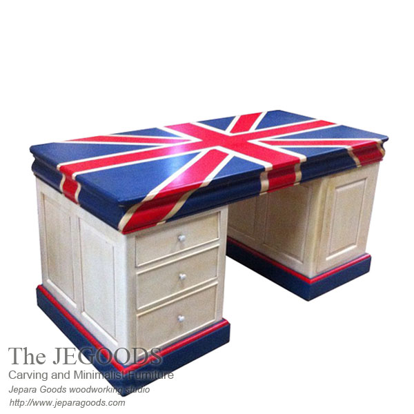 twin desk vintage, twin desk union jack painted,vintage writing desk painted, meja kerja bendera inggris, union jack flag desk,Jepara antique mahogany union jack flag mebel bendera inggris shabby chic furniture, painted furniture twin desk